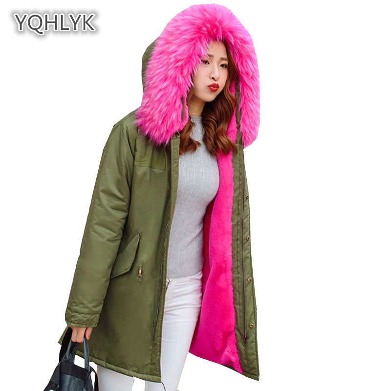 Mother daughter winter faux fur coat Family match hooded warm jacket thicken mother kids cotton long Parkas family clothes LK094 family fashion mother and child tendrils down coat thickening jacket vest mother