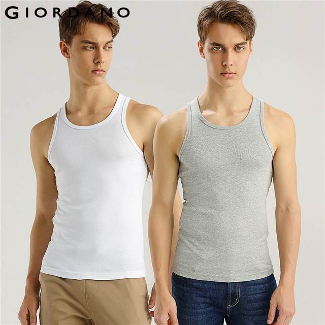 9732e606a1e81 Giordano Men Tank 2-pack Essential Solid Vest Cotton Male Sleeveless Tops  Slim Undershirt Chalecos Hombre Tank Top Men