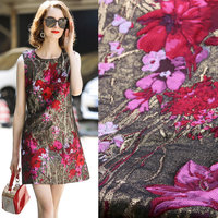 metallic brocade jacquard fabric,gold color flowers yarn dyed fabric patch,women winter dress coat polyester fabric tissus cloth