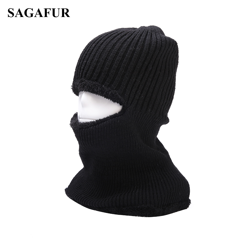 Outdoor Neck Full Face Mask Winter Warm Windproof Knitted Hat Cycling Ski Balaclavas Motorcycle Thicker Wool Blends Bike Beanies