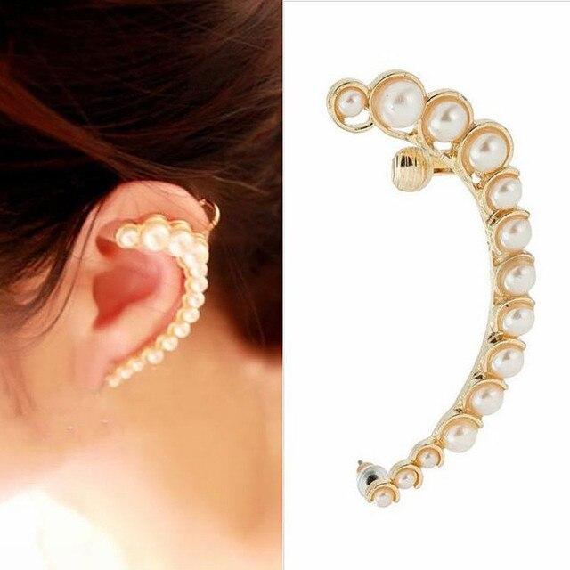 ES304 Imitation Pearl Ear Cuff Stud Earrings For Women Fashion Jewelry Brincos Bijoux 2017 HOT Selling