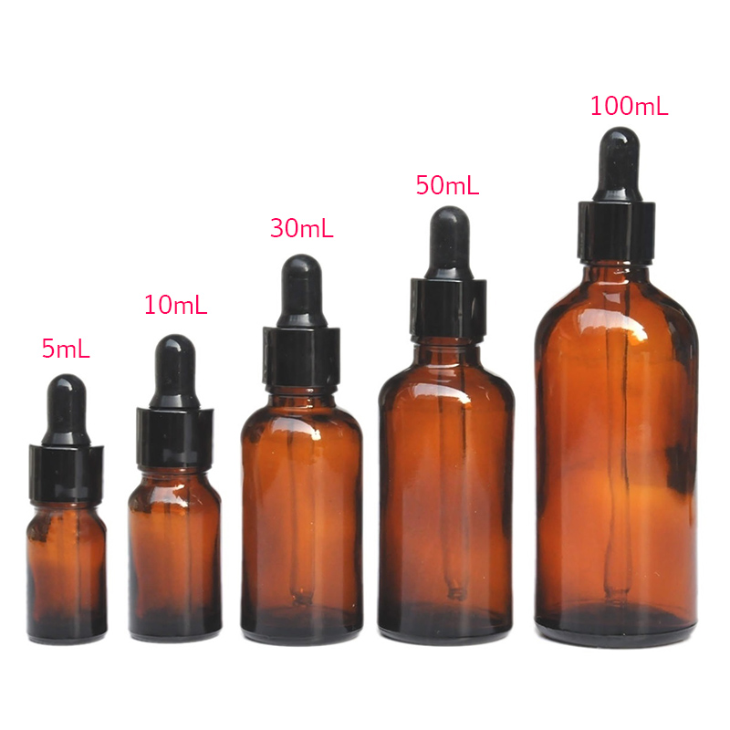 5-100ML Reagent Eye Dropper Drop Amber Glass Aromatherapy Liquid Pipette Bottle Refillable Bottles -35