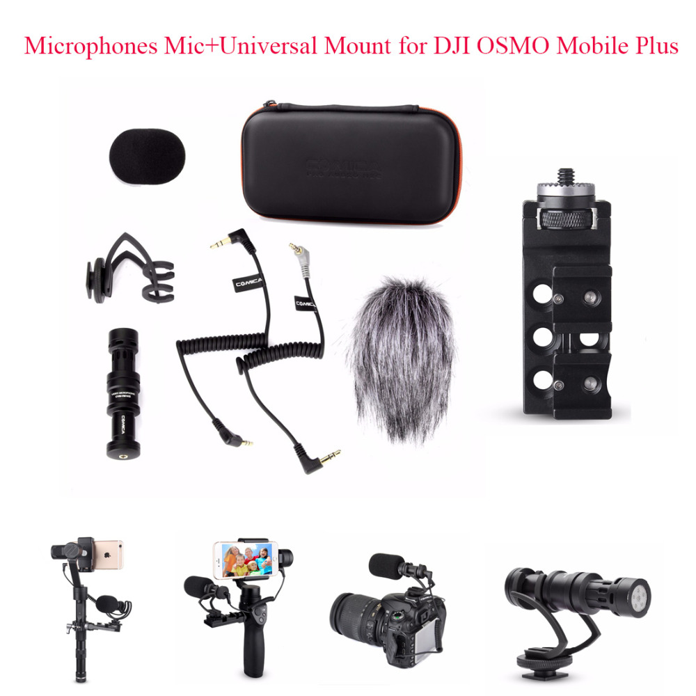 COMICA CVM-VM10 II Kit Cardioid Directional Condenser Video Microphones Mic + Universal Mount for DJI OSMO Mobile Plus comica cvm vm10 ii microphone for dji osmo mobile plus smartphone gopro micro camera cardioid directional shotgun microphone