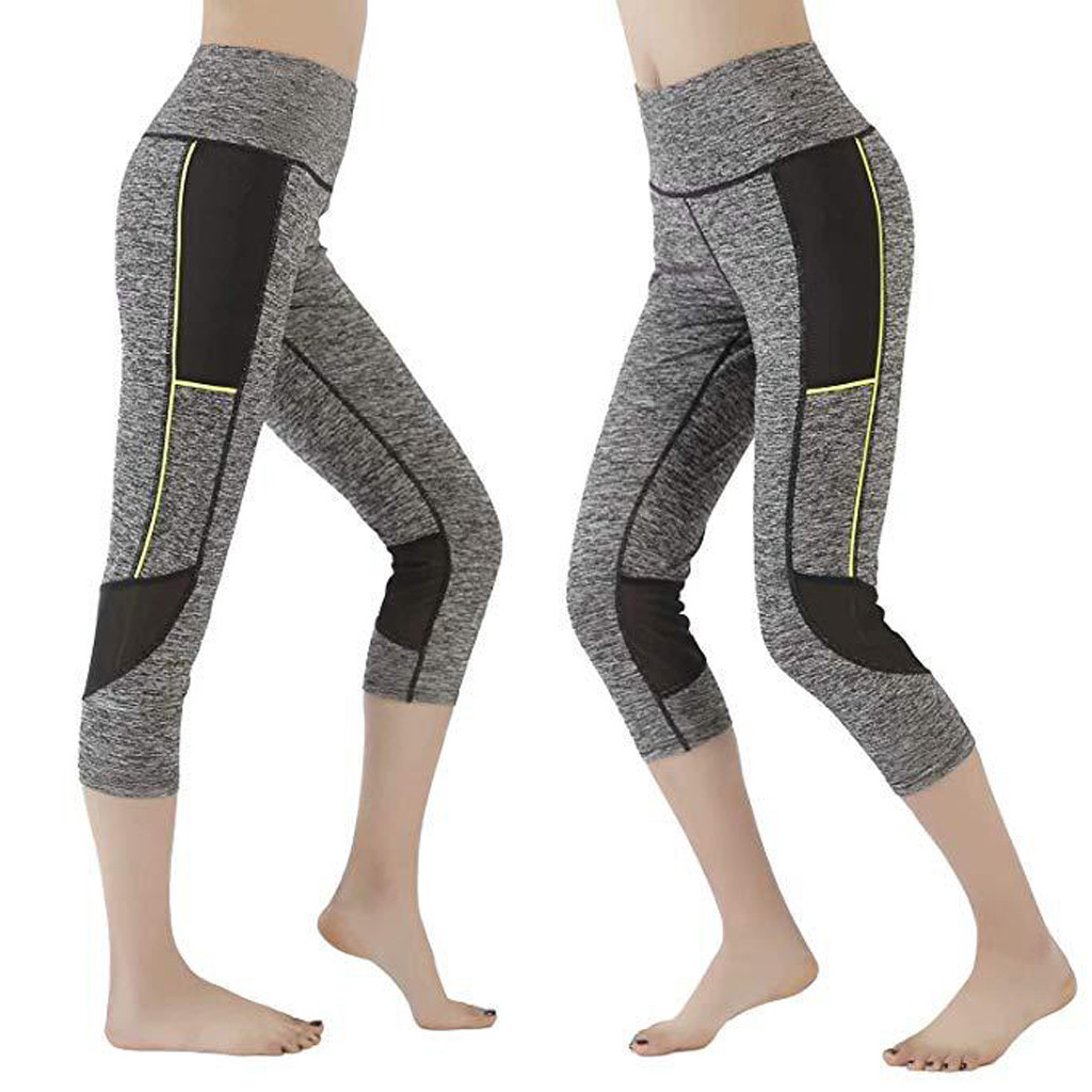 Women's mesh stitching high waist hips stretch running fitness leggings Mid-Calf Breathable High Waist Sport Leggings 7.12(China)