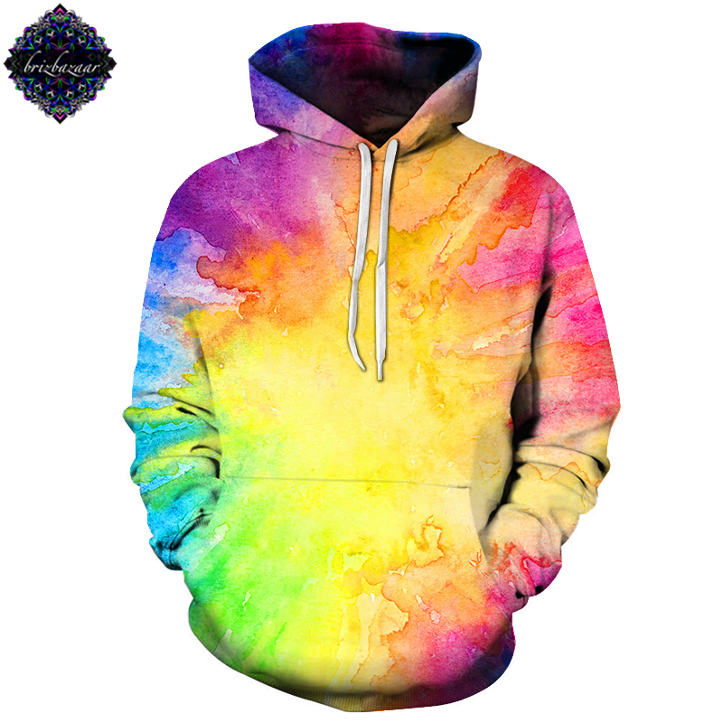 NeonDye By Brizbazaar Art Painting Sweatshirts Hoodies Men Tracksuit Harajuku Hoody Streetwear Coat 3d Pullover Drop Ship