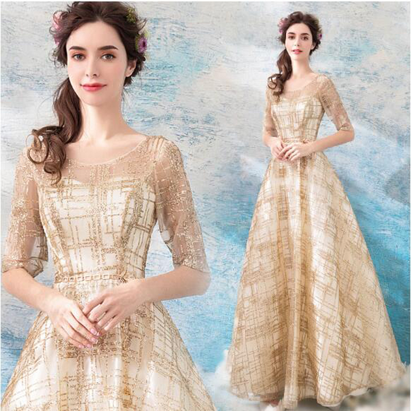 Sexy Plus Size Half Sleeves Lace Up Golden Elegant Long Party Floor Length Mother Of the Bride   Dresses     Evening     Dress   2018 XS4