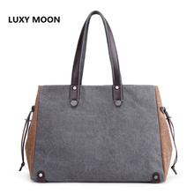 Female Causal Handbag Large Patchwork Design Shopping Mummy Bag Canvas Shoulder Bag Soft Handle Totes Crossbody Bag for Women