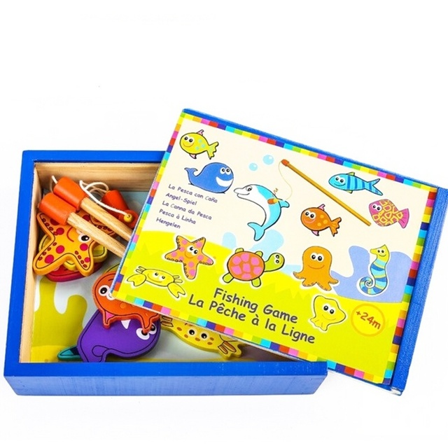 Деревянные Магнитные Рыбалка Пруд Игры Детей Родитель-ребенок Игрушки-Головоломки