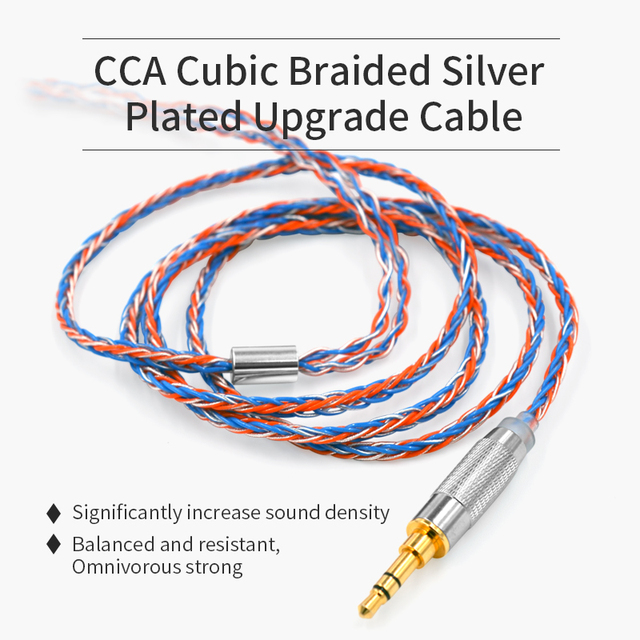 CCA Headphone Cable 8 core Cubic Silver Plated Upgrade Cable earphone line for CCA C16 C10 CA4 C16 ZS10 PRO AS16 AS10 ZST ES4