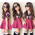 1-5 Years Baby Girls Clothing Set Children Toddler Girl Summer Clothes Fashion Floral Blouse + Rose Red Skirt Girls Clothing Set