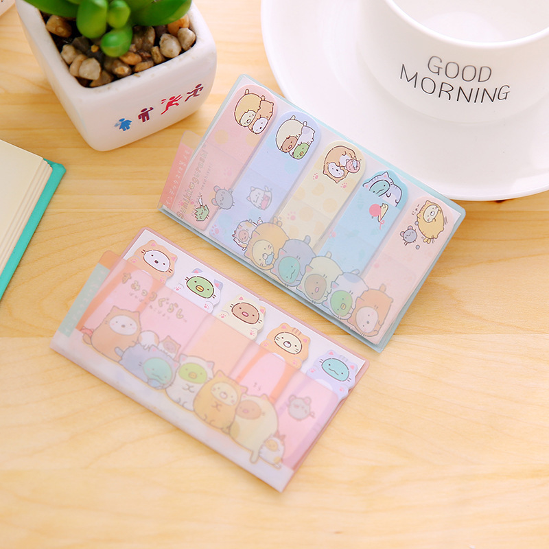 1 PCS Lovely Corner Creature PVC Shell Novelty Self Adhesive Memo Pad Sticky Note Memo Post It Note Gift Stationery