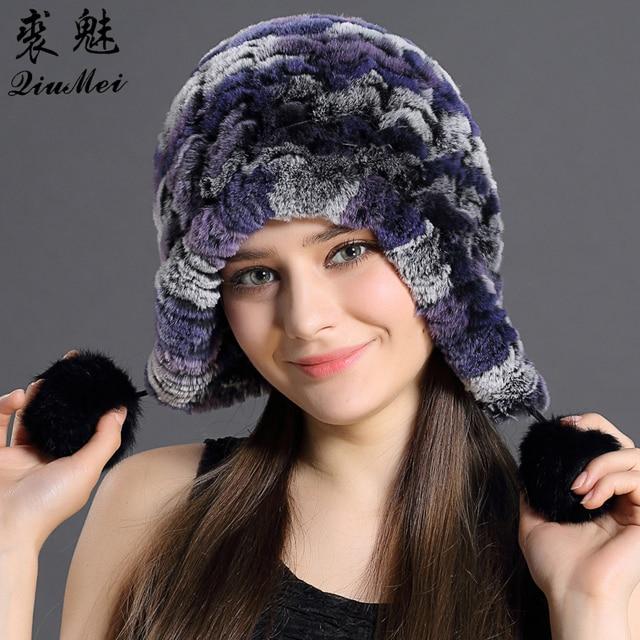 51e26c7ea09da7 QiuMei Women Genuine Knitted Rex Rabbit Fur Hats Russian Hat ushanka  Natural Stripe Rex Rabbit Fur Caps Winter Warm Head Wear