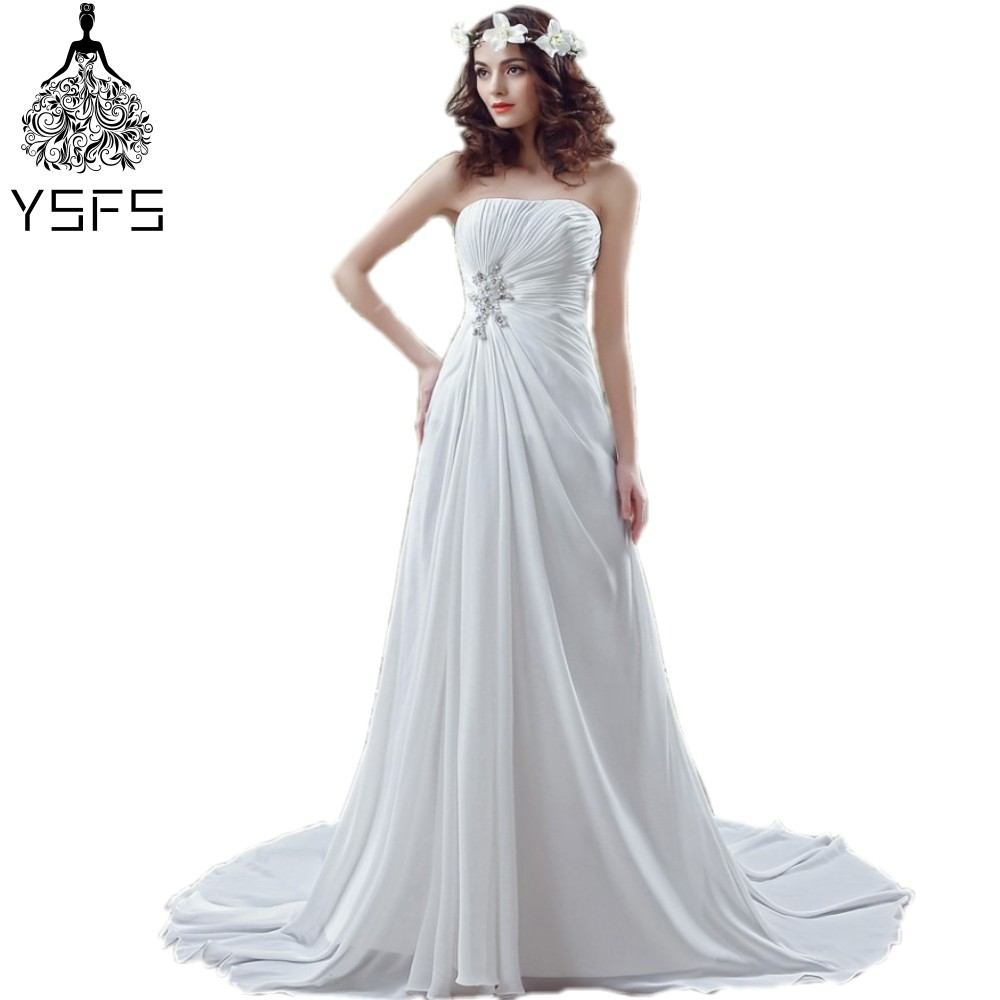 Real Pic Simple Elegant Wedding Dresses Pleated Beads A