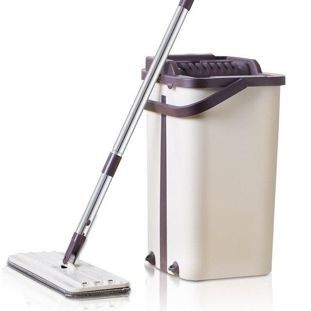 Mop da limpeza do assoalho do mop do aperto liso e mop da mão livre da cubeta do mop de microfibra que torce o mop molhado ou seco do uso