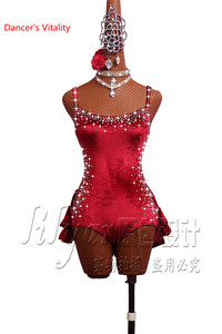 Image 2 - Latin Dance Performance Costumes Competition Clothing Women Girls Salsa Dance Jumpsuits Sexy Backless Bandage Dress Dancewear