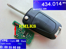 RMLKS 2X para Opel Astra H/Zafira B Flip llave remoto 2 botón completo remoto fob 433 MHz T14 ID46 PCF7941