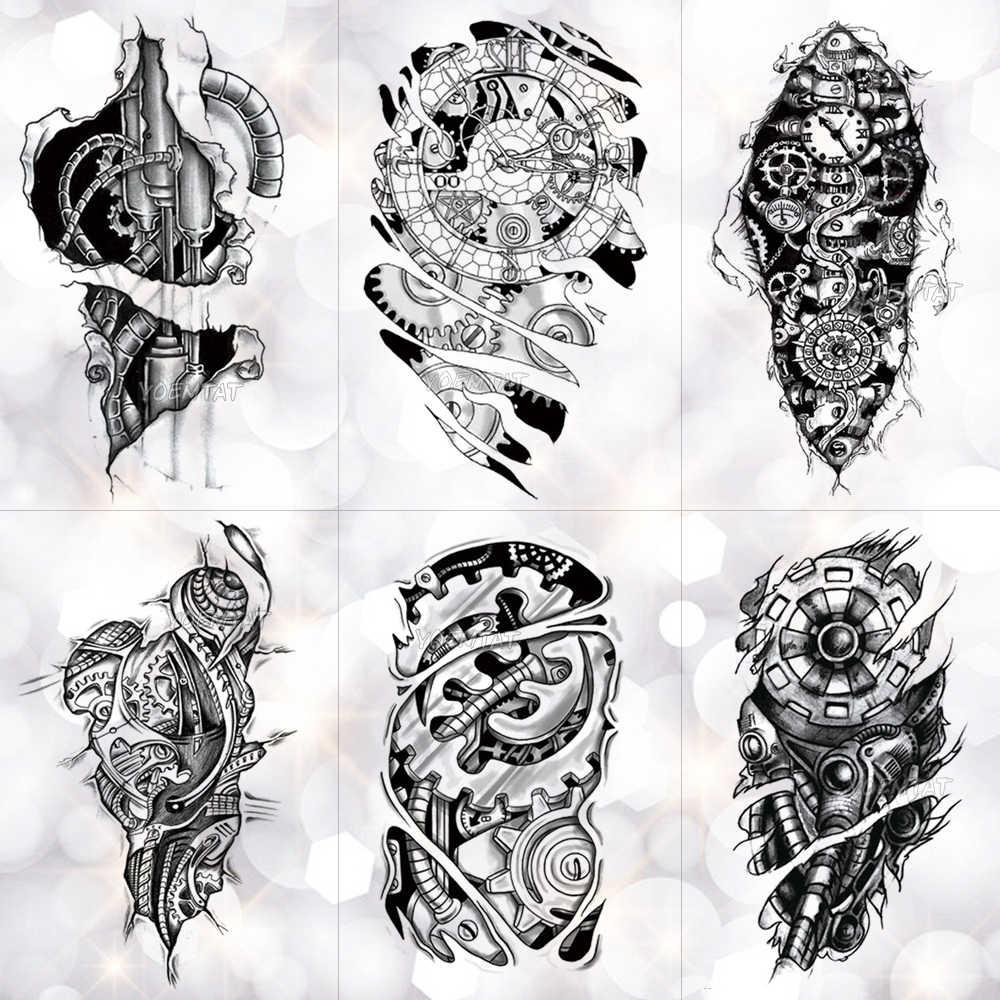 50750dd74 Bionic Mechanical Arm Gear Scorpion Temporary Tattoo Sticker Men Waterproof  Tattoos Split Body Art Fashion Fake