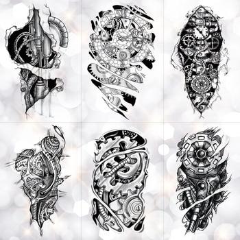 Bionic mechaniczne ramię Gear Scorpion tymczasowa naklejka tatuaż mężczyźni wodoodporne tatuaże Split tatuaże do ciała moda fałszywe czarne tatuaże