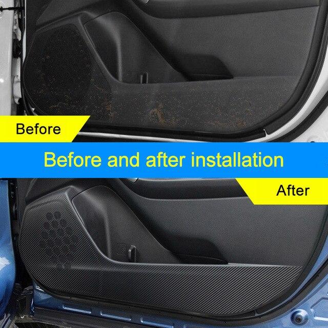 QHCP-Protection latérale de porte de voiture   Autocollant en Fiber de carbone 4 pièces pour Subaru Forester Outback XV Legacy 2014 2015 2016 2017 2018