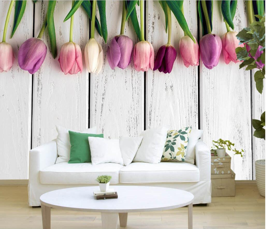 Wall Panel Wallpaper Retro White Wooden Tulips Background Modern ...