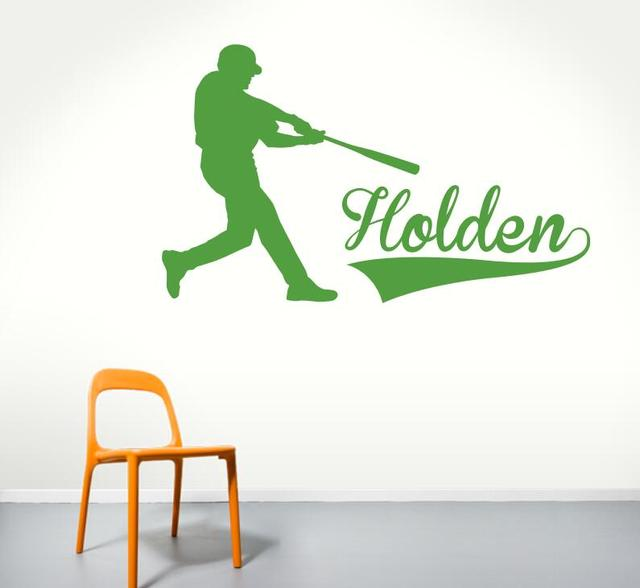 Baseball batter name wall art decal personalized name vinyl wall baseball batter name wall art decal personalized name vinyl wall stickers baby gifts removable sticker muraux negle Choice Image