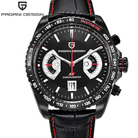 PAGANI DESIGN Sports Quartz Watches Japan OS20 Movt Top Brand Military Leather Black Man Clock Fashion Chronograph Wristwatches
