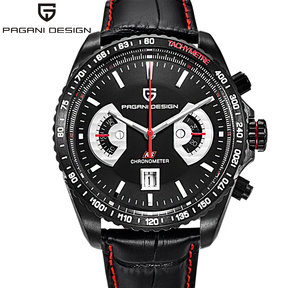 PAGANI DESIGN Sports Quartz Watches Japan OS20 Movt Top Brand Military Leather Black Man Clock Fashion Chronograph Wristwatches