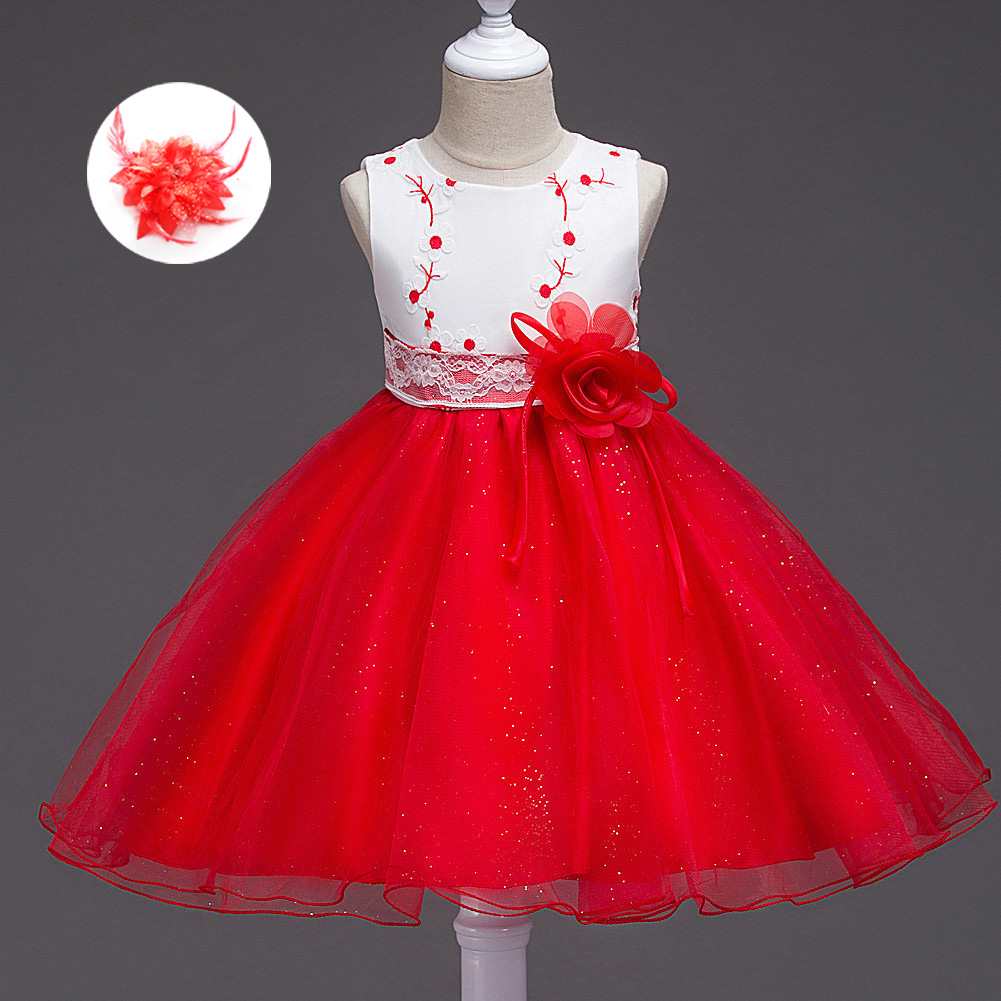 New Arrival Knee Length Kids Wedding Clothes Girls Party Floral Embroider Mint Hot Pink Red and White Children Dress