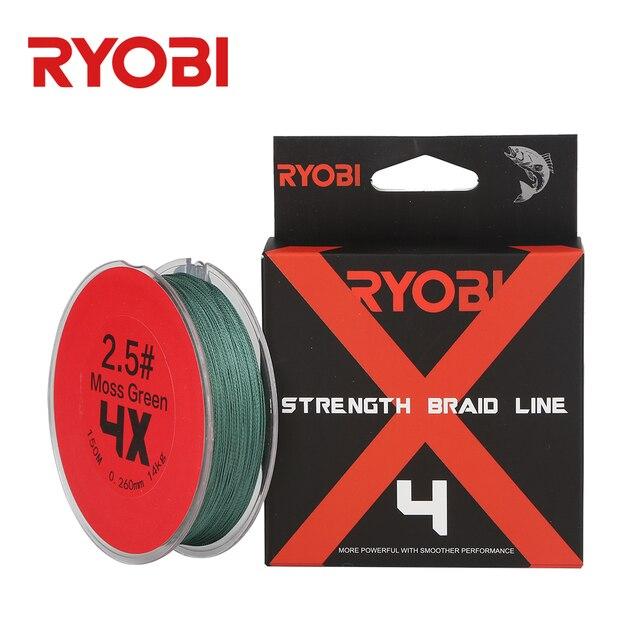 RYOBI м 150 м 4X несущей кос Мох Зеленый Серый цветной м/10 м провода Карп пресноводный 12LB-60LB 165yds плетеный PE морской лески
