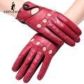 Mitones de Cuero genuino femenina guante guantes de cuero de estilo Punky de la Manera guantes guantes de conducción femenina costuras de Color Rojo diseño hueco