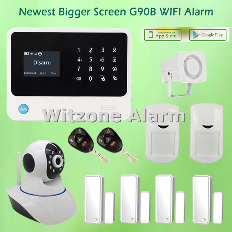Newest Version WIFI GSM Alarma Casa G90B Touch Keypad Alarme Systems with WIFI Indoor IP Camera, Free Shipping датчики сигнализации king pigeon forsmoke alarme casa alarme s110