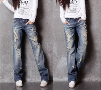 2019 new fashion women's jeans with ripped hole worn denim for female ladies casual long trousers pants blue plus oversized xxxl