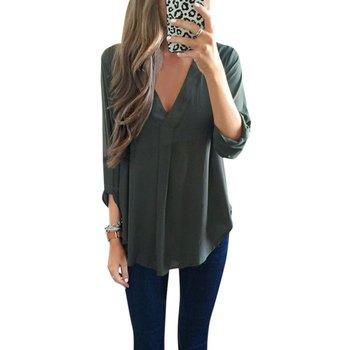 2017 Fashion Women Casual Deep V Loose Blouse Chiffon Solid Tops Blouses