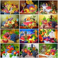 AZQSD Diamond Embroidery Kitchen Home Decoration Painting Fruit Picture Of Rhinestone Mosaic Full Display Gift