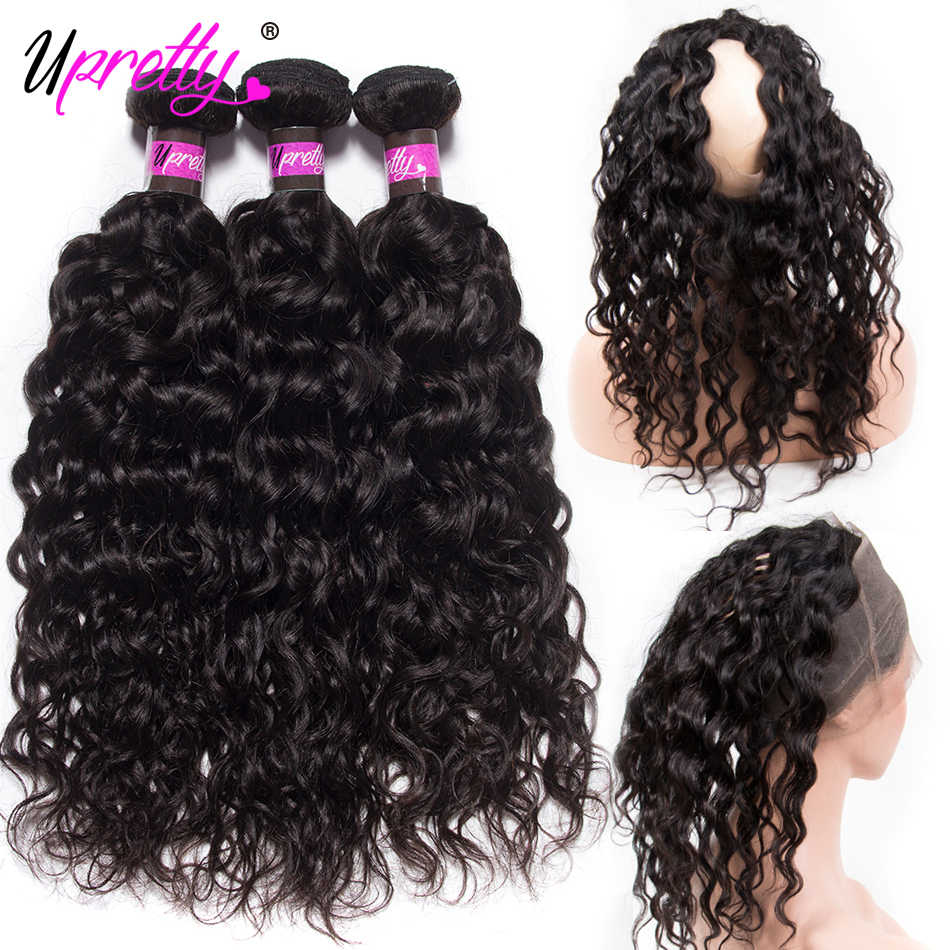 Upretty Pre Plucked 360 Lace Frontal With Bundle Brazilian Water Wave Human Hair Weave 2 3 Bundles With 360 Lace Frontal Closure
