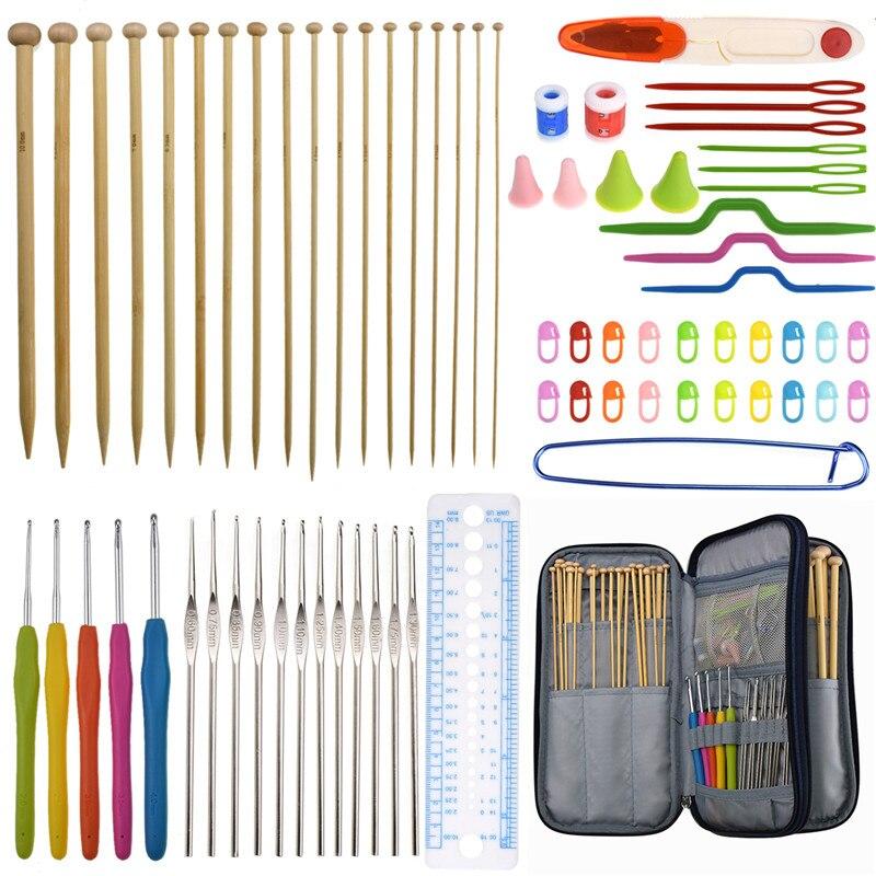 KOKNIT tejer tejido de punto agujas conjunto práctico 36 piezas agujas de tejer rectas 17 piezas tamaño de mezcla Crochet ganchos conjuntos con almacenamiento de viaje bolsa