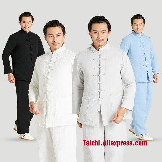 932f3159cb799 Inverno espessamento Roupas de artes marciais Tai Chi Unifrom Taiji terno  de Linho de Algodão-