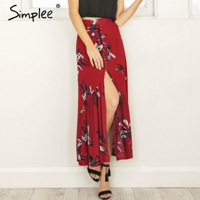 e5482951f7 Simplee High waist boho print long skirt Women split maxi skirt floral print  beach skirt Female chic vintage 2018 summer skirt