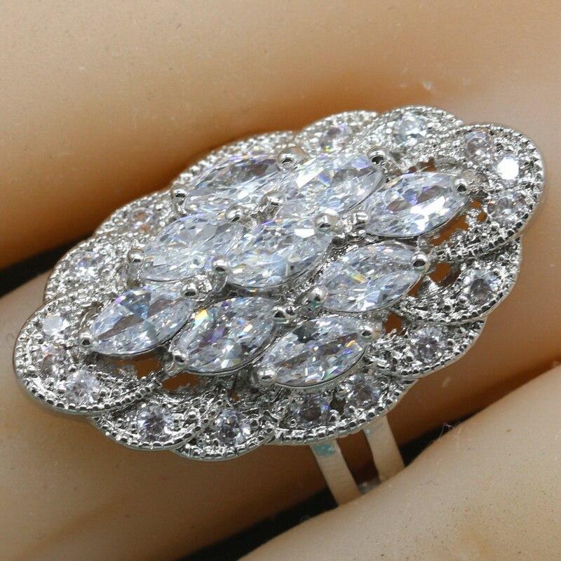 Anillo de plata de ley 925 y piedra semipreciosa blanca geométrica para mujer, anillo de cóctel azul oscuro con piedra, joyero gratuito