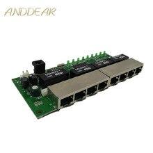 OEM PBC 8 ports Gigabit Ethernet commutateur 8 ports met 8 broches voie en tête 10/100/1000 m hub 8way broche de puissance carte Pcb OEM schroef gat
