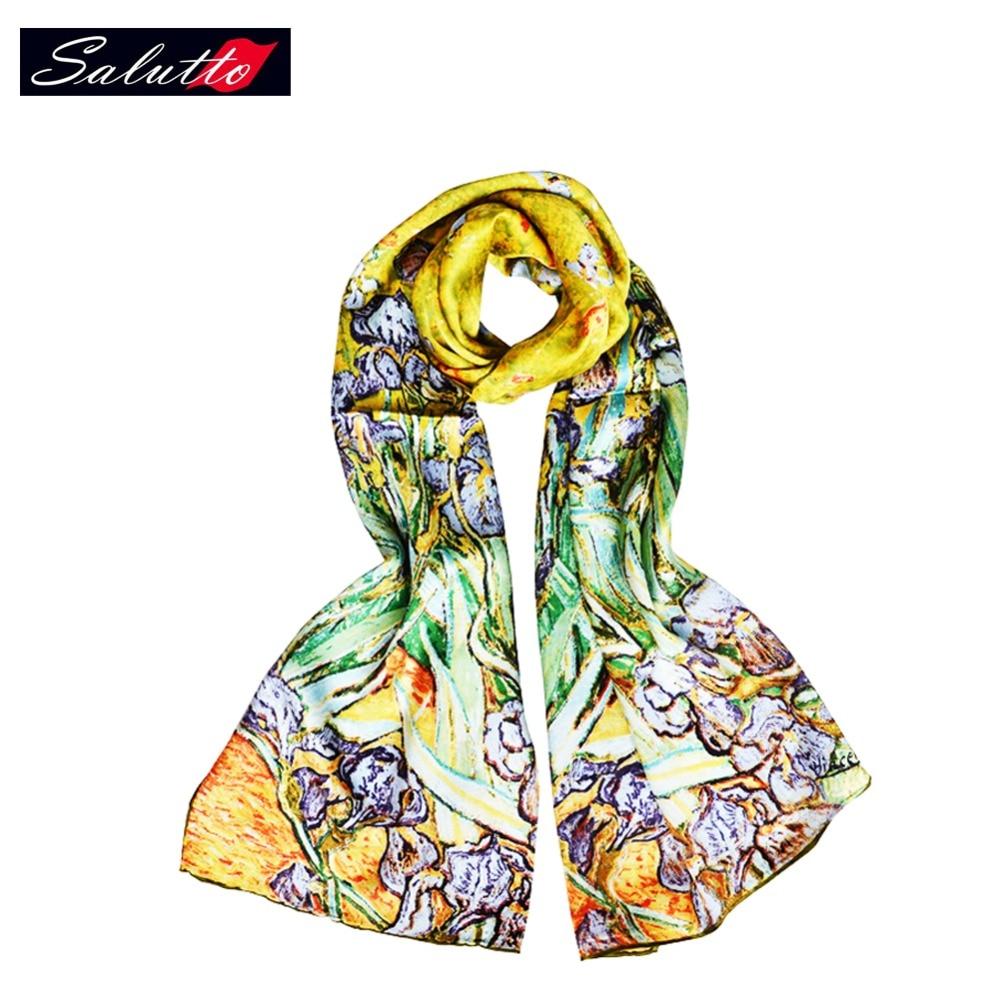 Salutto sieviešu luksusa zīda šalle Van Goga gleznošana drukāšanas zīmols modes punkts šalles 100% tīra zīda foulards šalles