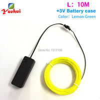 2mm 10M DC 3V Flexible Light Glow Lemon Green EL Wire Rope Tape Cable Strip Neon