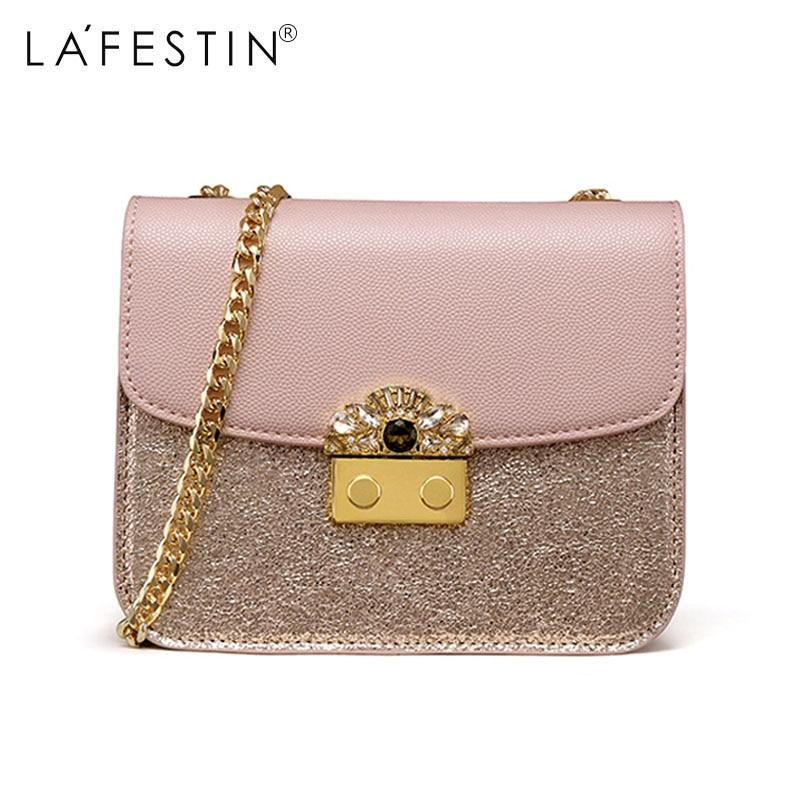 LAFESTIN Brand Women Shoulder Bag Metal Chain Strap Crossbody Bags Small Flap Crossbody Bag Female Lady Crossbody Bags