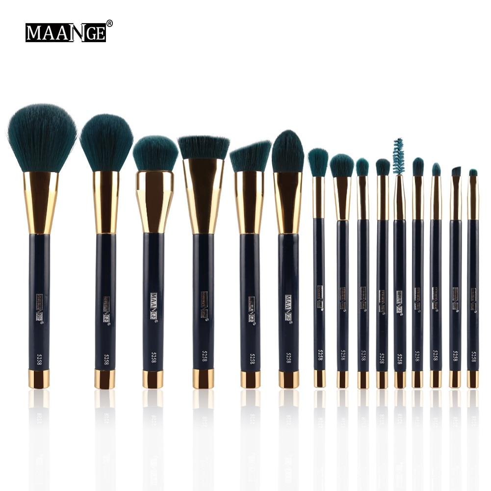 купить MAANGE 15Pcs Makeup Brush Set Powder Foundation Eyeshadow Eyeliner Lip Contour Concealer Smudge Brush Cosmetic Beauty Tool kits по цене 1111.76 рублей