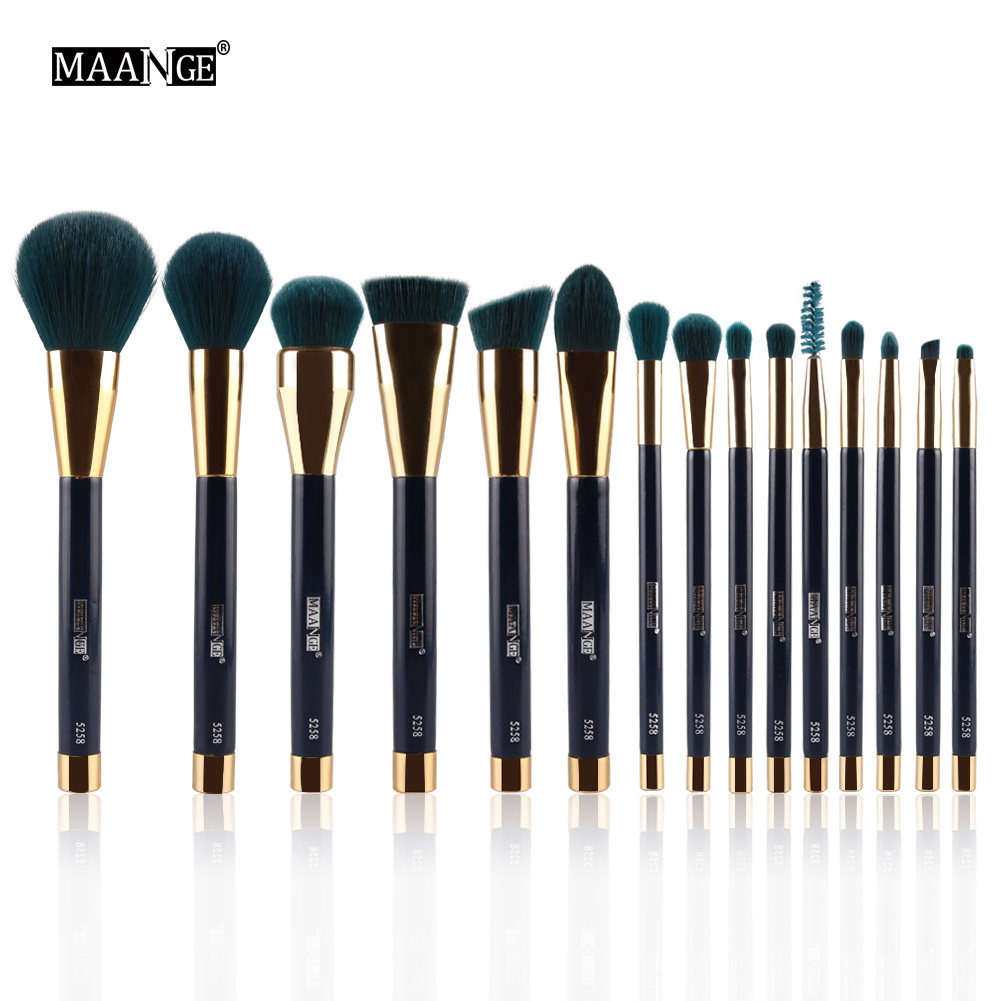 MAANGE 15Pcs Makeup Brush Set Powder Foundation Eyeshadow Eyeliner Lip Contour Concealer Smudge Brush Cosmetic Beauty Tool Kits