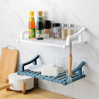 Punch free Wall mounted Racks Bathroom Kitchen Wall Shelf Multi function Plastic Wall Storage Rack Holders