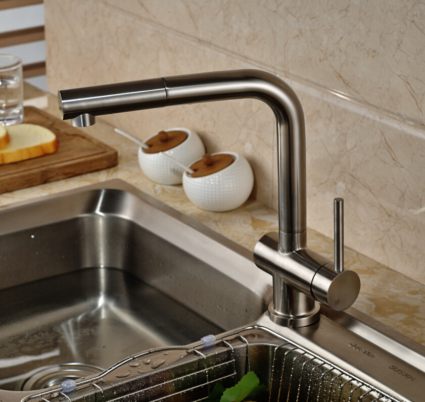 Luxury Pull Out Kitchen Faucet Deck Mounted Vessel Sink Mixer Tap Single Handle Hole Hot And Cold Water newly chrome brass water kitchen faucet swivel spout pull out vessel sink single handle deck mounted mixer tap mf 302
