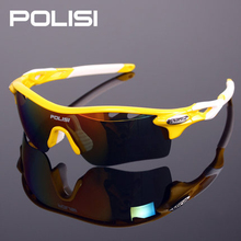 POLISI SPORTS Polarized Cycling Glasses Integrally Lens Cycling Eyewear Sports Sunglasses Men Women Bike Bicycle Glasses 5 Lens