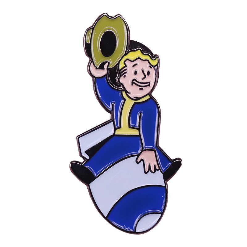 Fallout men pin pip cậu bé trâm trò chơi vui nhộn chân phim hoạt hình đồ trang sức người đàn ông phụ nữ áo khoác ba lô phụ kiện