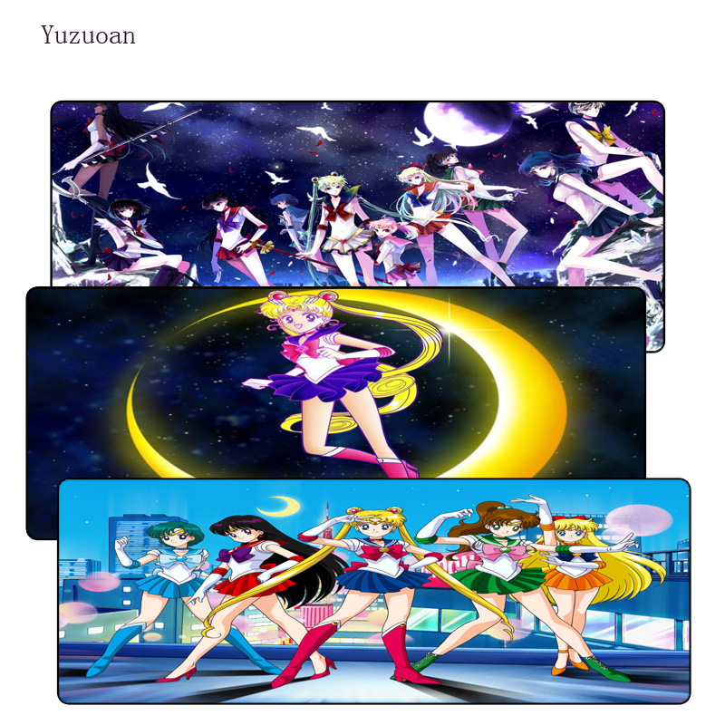 Yuzuoan Sailor Moon Anime Speed Free Shipping Large Lock Edge Gift Mousepad Computer Desk Mouse pad for LOL DOTA CSGO Gamer Pad